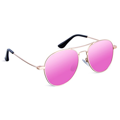 SEEKWAY Kid's Polarized Sunglasses Metal Frame Children Age 3-10 SKM3023 (Mirrored Lens Available) (Gold, Pink Mirrored (Cheap Coloured Contact Lenses)