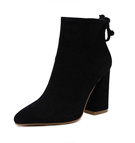 Ladola Womens Fashion Zip High-Heel Solid Suede Boots Black