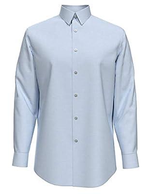 "Calvin Klein Men's Dress Shirt Slim Fit Non Iron Herringbone, Blue, 15"" Neck 32""-33"" Sleeve (Medium)"