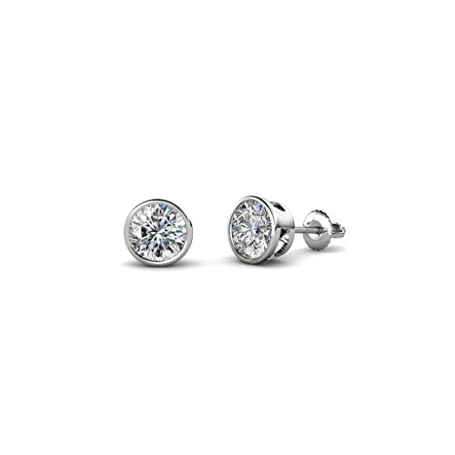 TriJewels Round Diamond 0.33 ct Bezel Set 3.6mm Womens Solitaire Stud Earrings (I1-I2, H-I) 14K White Gold ()