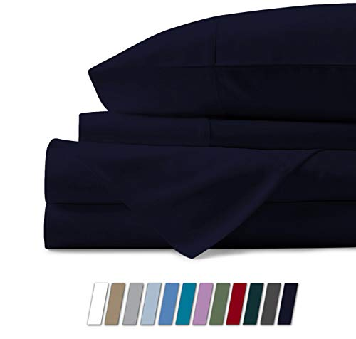 Mayfair Linen 100% Egyptian Cotton Sheets, Navy Blue Full Sheets Set, 800 Thread Count Long Staple Cotton, Sateen Weave for Soft and Silky Feel, Fits Mattress Upto 18 DEEP Pocket
