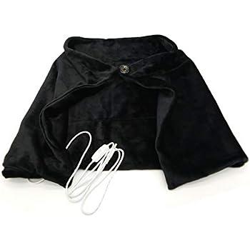 F-Tomorrow Portable Electric Blanket USB Heated Shawl Flannel 5V/2A-ON/OFF Design Scarf Neck Shoulder Blanket for Car Office Home (Black)