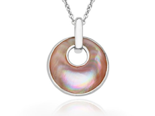(Kabana Sterling Silver 925 Inlayed Pink Mother of Pearl Necklace with 18