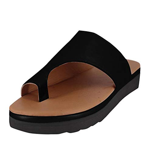 - Women's Flip Flop Slippers with Flats Wedges Beach Shoes Open Toe Slip On Thong Sandals Anti-Skid Hard Rubber Sole Black