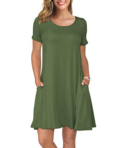 KORSIS Women's Summer Casual T Shirt Dresses Swing Dress ArmyGreen L
