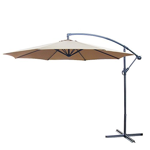 10 Foot Offset Backyard Patio Umbrella Tan Polyester Outdoor Aluminum Crank