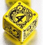 Q WORKSHOP 1 (One) Single d6 Carved Steampunk Six Sided Dice / Die (Yellow & Black) 4
