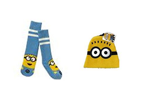 [Disney Despicable Me Minions Knit Hat PLUS Slipper Socks] (Despicable Me Minion Hats)