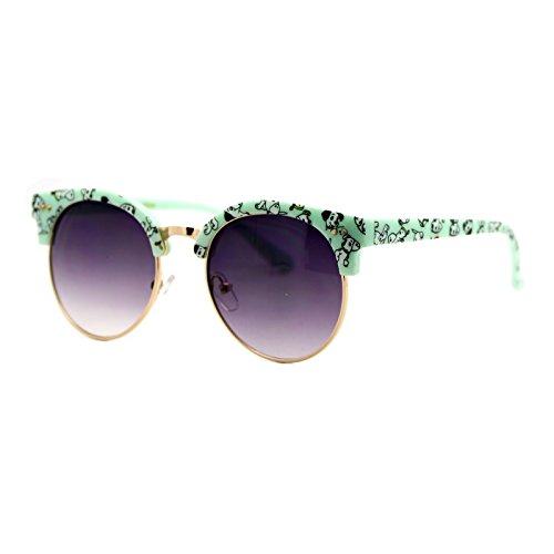 Girl's Junior Sunglasses Cute Dog Prints Round Wing Top Frame Dalmatian - Juniors Cute Sunglasses For