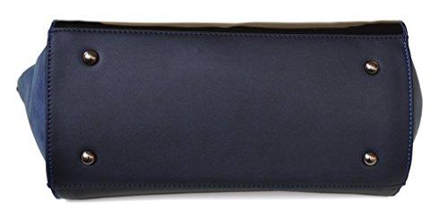 bras et Bleu ou Sac couleurs Verni David Bi matière main Simili Trapèze type Jones Plusieurs porté Suède avant Cuir 8wSxq641C