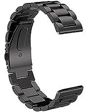 Smart Watch Strap 20mm Rostfritt Stål Armband Band Kompatibel med Apple Huawei Svart, Smart Tillbehör