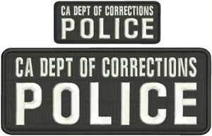 (CA DEPT of Corrections Police Embroidery Patch 4X10 and 2X5 Hook White Letters by HighQ Store)