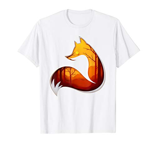 Fox, see through autumn forest, wild animals idea tee ()