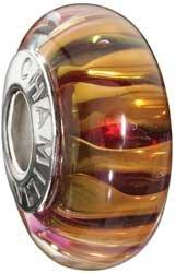 Authentic Chamilia RETIRED 24K Gold Collection Safari Murano Glass Bead Sterling Silver 2116-0073