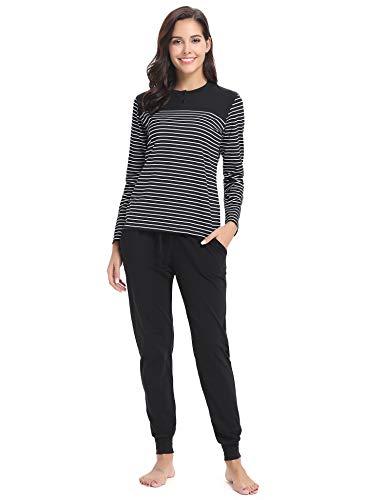 Hawiton Womens Cotton Long Sleeve Pajama Pants Set ()