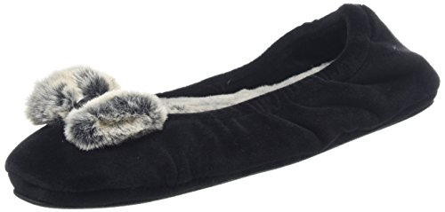 Dearfoams Women's Velour Ballerina W/Frosted Pile Low-Top Slippers Black (Black) UYS49hc