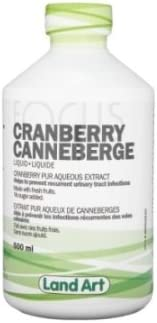 Pure Cranberry Juice -Concentrated Extract -Unsweetened Serving Size 5ml 100 Servings per Bottle 500mL Brand Land Art