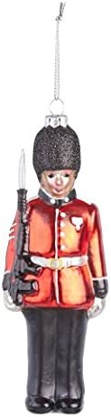 Painted Glass Soldier Hanging Christmas Tree Decoration