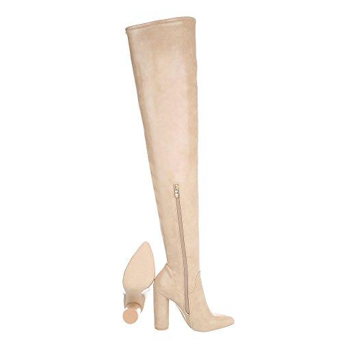 Stivali Ital ginocchio design con sopra il donna Stivali e stivaletti tacco beige Scarpe da SgS0q