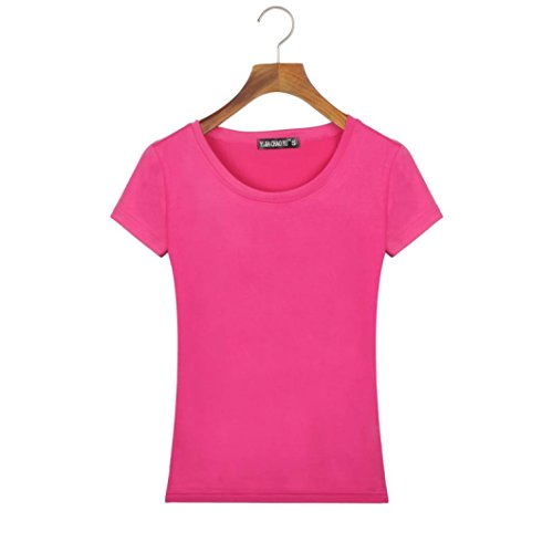Silk Cotton Crewneck T-shirt (YANG-YI Women Fashion Slim Fit Cotton Short Sleeve Crew Neck Casual T-Shirt (S, Hot pink))