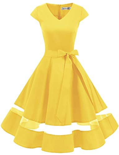 Gardenwed Women's 1950s Rockabilly Cocktail Party Dress Retro Vintage Swing Dress Cap-Sleeve V Neck Yellow M ()