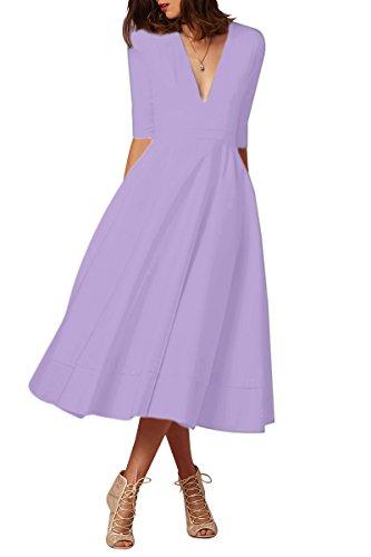 Light Tunic Purple Vintage YMING Sleeve Women's Dress Swing V Neck Cocktail Elegant Deep Half nq4Hg