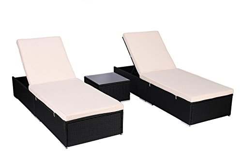 Do4U 3 Pcs Outdoor Patio Synthetic Adjustable Rattan Wicker Furniture Pool Chaise Lounge Chair Set with Table (Black-8003)