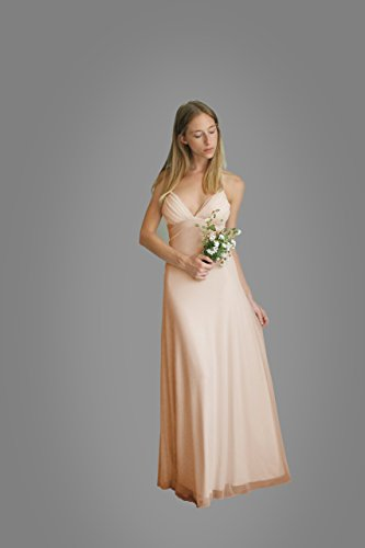 Women's Prom Blush Dress, Bridesmaid Evening Dress, Maxi Long Dress for Wedding, Chiffon Classic Lycra Gown by Guy Sharon