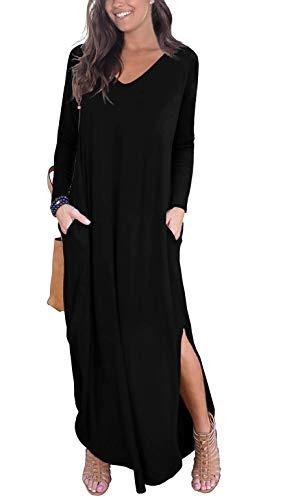 GRECERELLE Women's Casual Loose Pocket Long Dress Long Sleeve Split Maxi Dresses Black 2XL