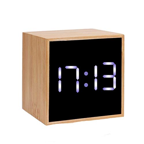 CORTEGE Digital Alarm Clock 4 Levels LED Light with Big Time Date and Temperature Display 100% MOSO Bamboo Frame Mini Cube Clock for Home Bedroom Office Desk Travel Kids Heavy Sleepers