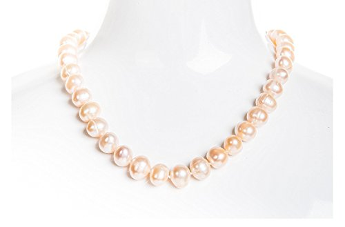 Freshwater Necklace Peach Pearl (Single Strand Peach Freshwater Pearl Necklace 9-10mm 18