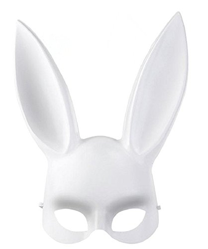 Sorrica Adult Bunny Rabbit Ears Hairband Costume Masquerade Mask for Birthday Party Easter Halloween (White) -