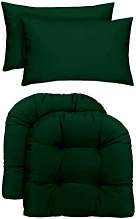 RSH D cor Indoor Outdoor – 2 U-Shape Wicker Chair Cushions Bonus Lumbar Throw Pillows 2 19 x 19 Cushions 2 20 x 12 Pillows, Solid Hunter Green Fabric