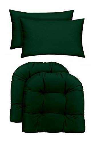 RSH Décor Indoor/Outdoor - 2 U-Shape Wicker Chair Cushions & Bonus Lumbar/Throw Pillows (2 (19