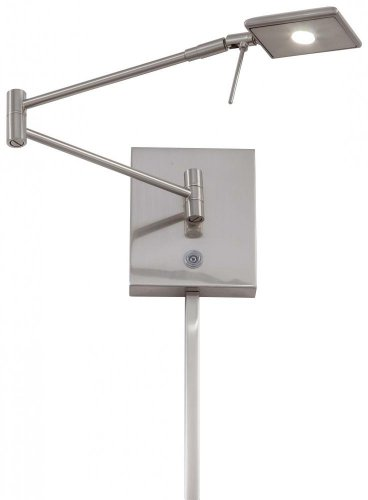 George Kovacs P4328-084, Georges Reading Room, 1 Light LED Swing Arm Wall Lamp, Brushed - Wall Transitional Swing