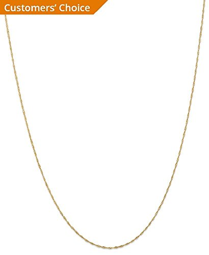 ICE CARATS 14k Yellow Gold 1mm Link Singapore Chain Necklace 30 Inch Fine Jewelry Gift Set For Women Heart by ICE CARATS (Image #3)