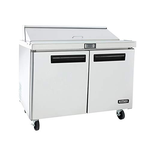 48 Inches Sandwich Salad Prep Table Refrigerator - KITMA 12 Cu. Ft 2 Door Food Prep Station Table with Cutting Board and 12 Pans, 33 °F - ()