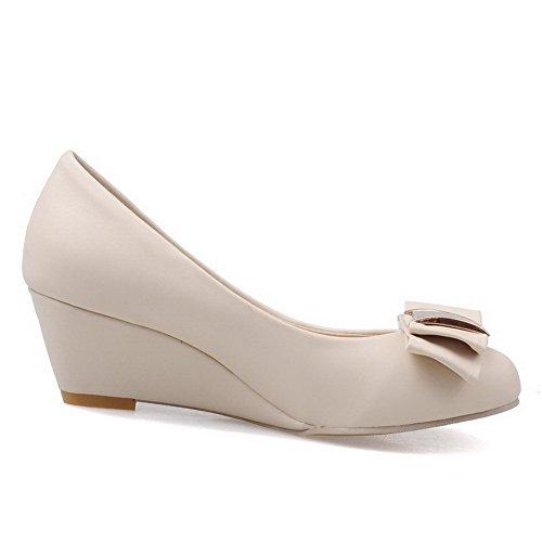 VogueZone009 Women's Microfiber Kitten-Heels Pull-On Soild Pumps-Shoes Beige m1gdF89