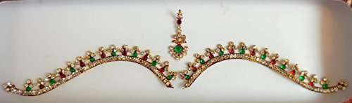 [Red Bridal Silver, Gold Face Jewels Bollywood Stickers Indian Bindi] (Bollywood Party Decorations)