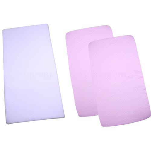 - BabyPrem Crib Mattress Set - Mattress & 2 Cotton Fitted Sheets 33 x 17