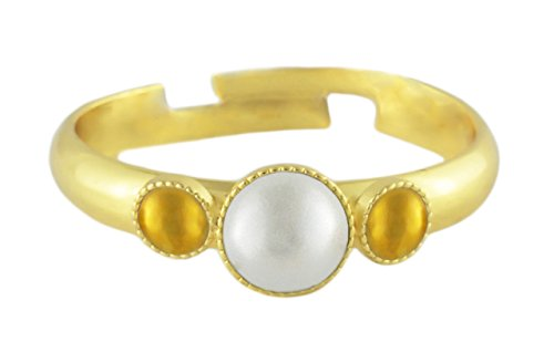 24K Gold Plated Minimalist Ring Adjustable Universal Size Round Trio oOo White Pearl Czech Glass Stone Handmade BohemStyle by Unknown (Image #2)