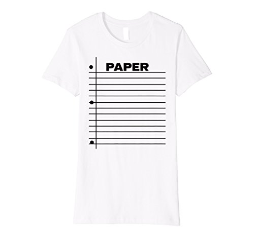 Womens Paper T-shirt Easy Group Halloween Costume Add Rock Scissors Medium White -