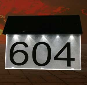 Solar House Number Sign - Combi (NUMBER (Acrylic Address Plaque)