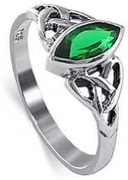 Sterling Silver Marquise Emerald colored CZ Celtic knot Solitaire Ring