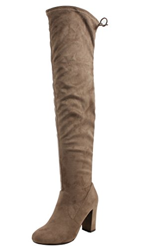 Delicious Knee Boot Over The Back Tie Suede Heel Women's Dress Taupe Chunky Faux High wXqr07w