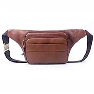 Leather Casual Men's Pockets Large Capacity Travel Shoulder Bag Pocket Men (Color : Brown, Size : S)