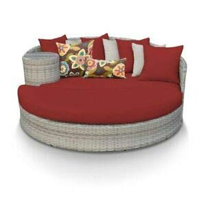 (JumpingLight TKC Fairmont Round Patio Wicker Daybed in Red Durable and Ideal for Patio and Backyard)