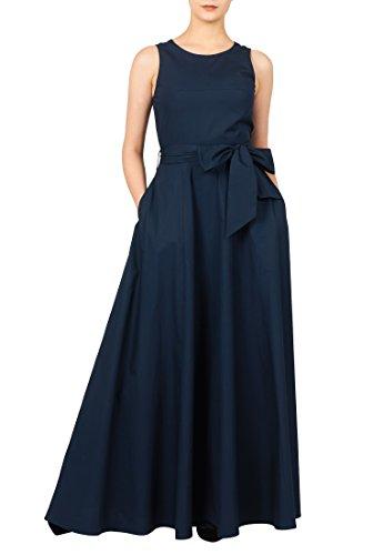 eShakti Women's Cotton poplin sash tie maxi dress 3X-24W Tall Deep (Sleeveless Stretch Poplin Dress)