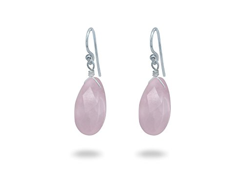 FRONAY Natural Gemstone Rose Quartz Dangle Drop Earrings - Handmade Sterling Silver Jewelry for (Genuine Rose Quartz Heart)