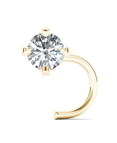 Jewelmore 1.5mm 0.015 ct. tw Diamond 14K White Gold Nose Ring Twist Screw 20G (Yellow)